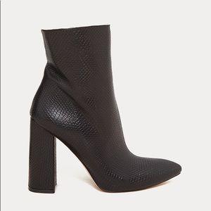 Black snakeskin platform ankle boot